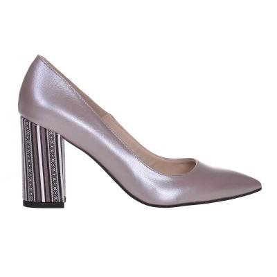 Pantofi Stiletto din Piele Naturala Mov Lila si Imprimeu - Cod S610