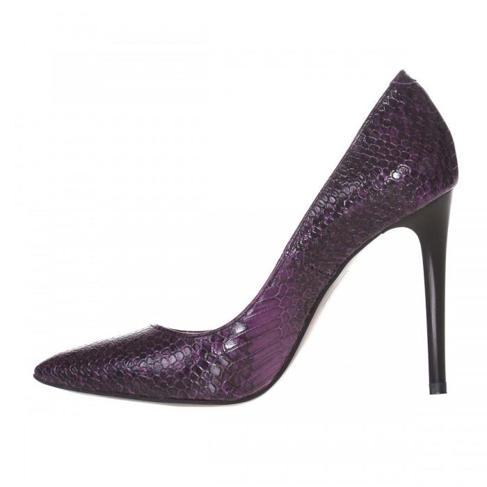 Pantofi Stiletto Piele Naturala Imprimeu Sarpe Mov - Cod S650