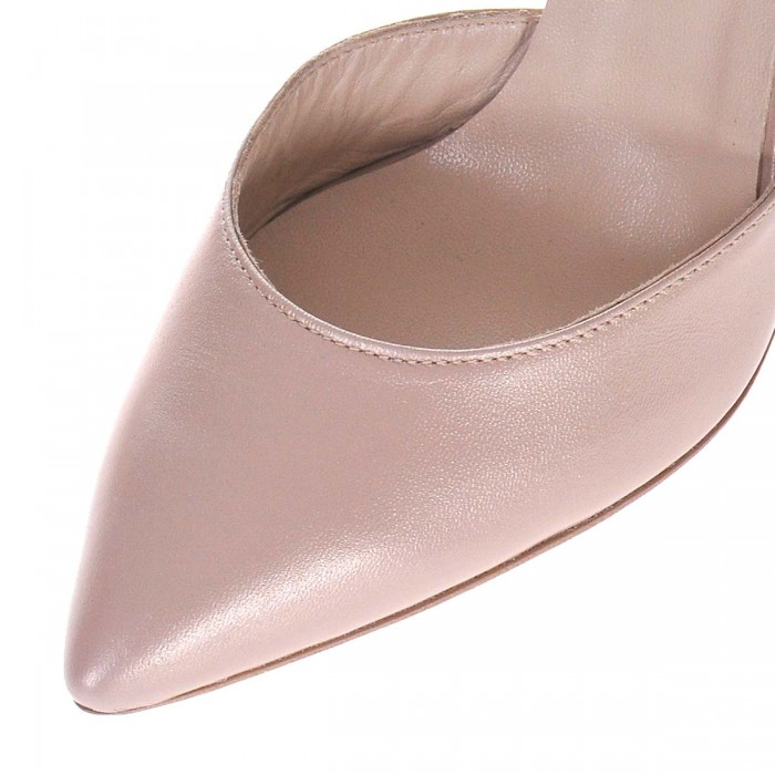 Pantofi Stiletto Piele Naturala Bej Sidefat si Glitter- Cod S428