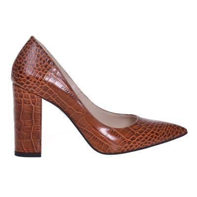 Pantofi Stiletto Presaj Croco Maro Piele Naturala - Cod S594