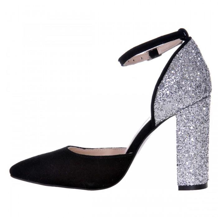 Pantofi Stiletto Piele Naturala Intoarsa Neagra si Glitter- Cod S427
