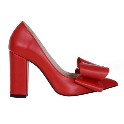 Pantofi Stiletto cu Funda din Piele Naturala Rosie - Cod S575