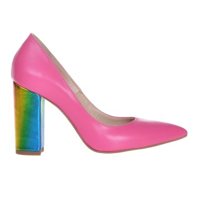 Pantofi Stiletto din Piele Naturala Roz Fuchsia si Imprimeu - Cod S603