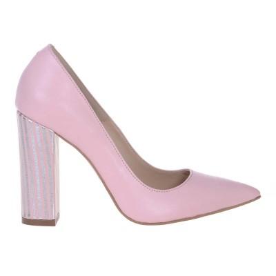 Pantofi Stiletto Cu Toc Gros Piele Naturala Roz Pal si Imprimeu- Cod S519