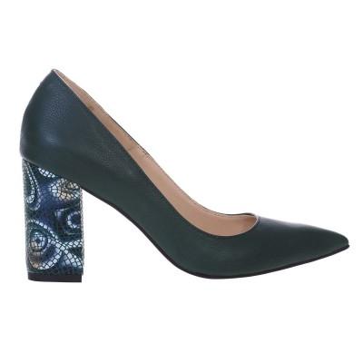 Pantofi Stiletto cu Toc Gros din Piele Naturala Verde Inchis si Imprimeu - Cod S584