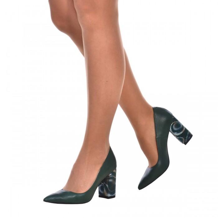Pantofi Stiletto din Piele Naturala Verde Inchis si Imprimeu - Cod S584