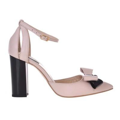 Pantofi Stiletto cu Toc Gros din Piele Nude-Roze si Funda - Cod S586