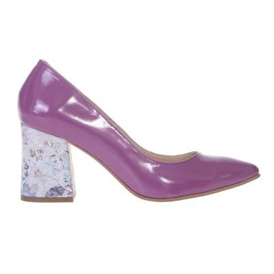 Pantofi Stiletto cu Toc Gros Evazat din Piele Naturala Lacuita Mov Lila si Imprimeu - S583