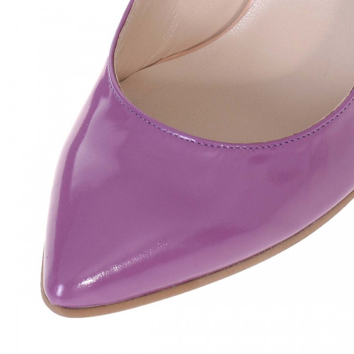 Pantofi Stiletto Toc Evazat Piele Naturala Mov si Imprimeu - S583