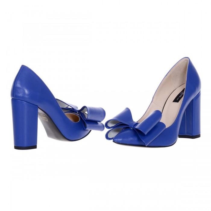 Pantofi Stiletto cu Funda din Piele Naturala Albastru Electric - Cod S578