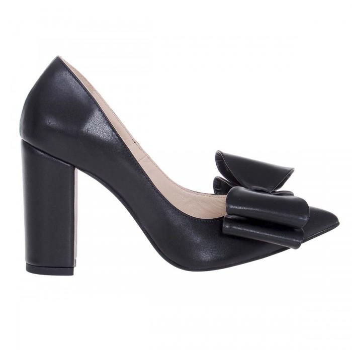 Pantofi Stiletto cu Funda din Piele Naturala Neagra - Cod S577