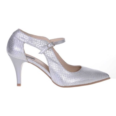 Pantofi Stiletto Piele Naturala cu Imprimeu Sarpe Argintiu - Cod S531