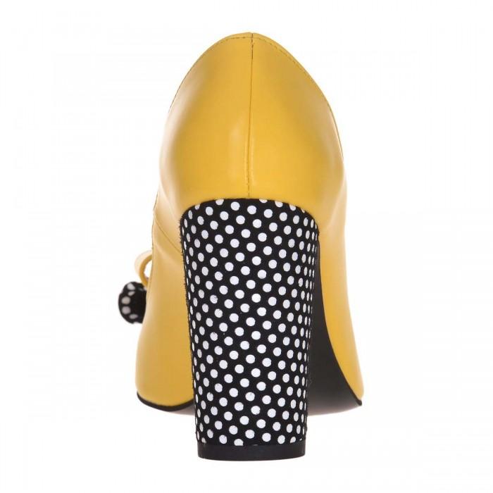 Pantofi Stiletto Piele Naturala Galbena si Imprimeu - Cod S609