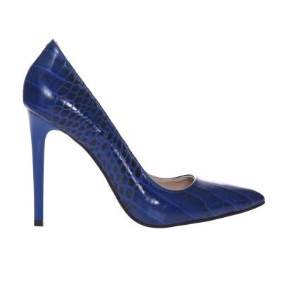 Pantofi Stiletto Piele Naturala Presaj Croco Albastru - Cod S657