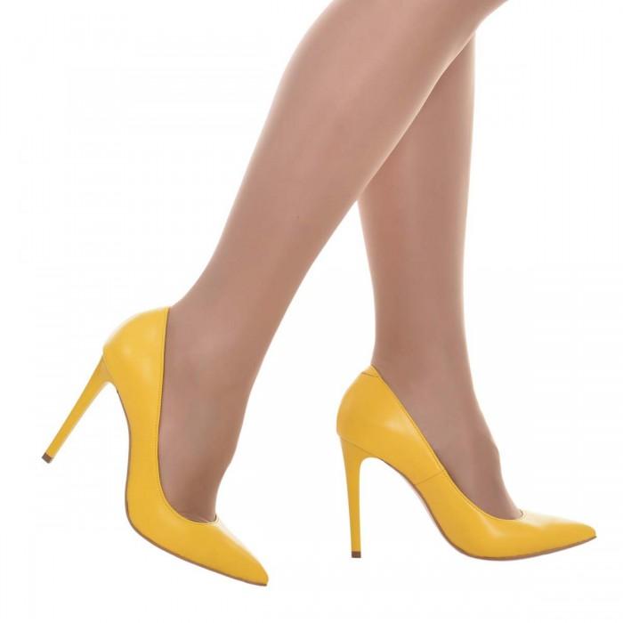 Pantofi Stiletto Piele Naturala Galbena - Cod S614