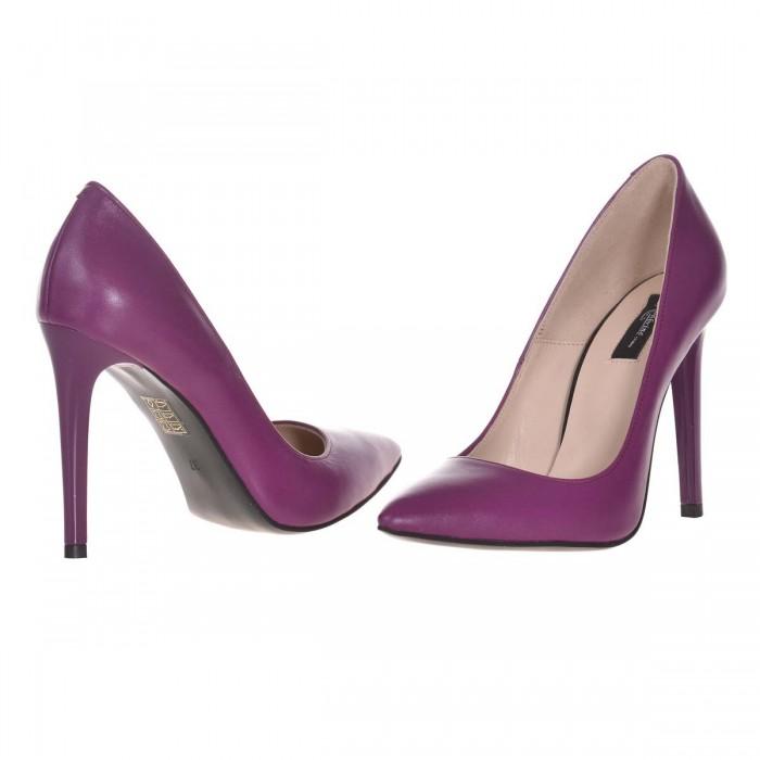 Pantofi Stiletto Piele Naturala Mov - Cod S615