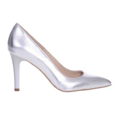 Pantofi Stiletto cu Toc Comod Piele Naturala Argintie - Cod S580
