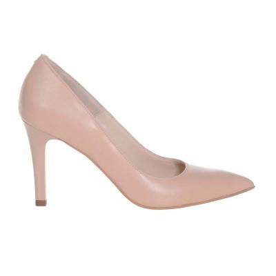 Pantofi Stiletto cu Toc Comod Piele Naturala Crem - Cod S581
