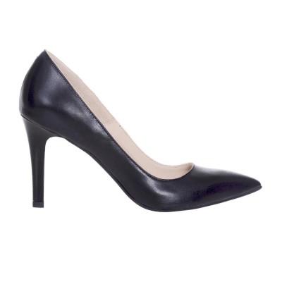 Pantofi Stiletto cu Toc Comod Piele Naturala Neagra - Cod S579