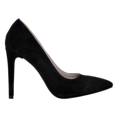 Pantofi Stiletto din Piele Naturala Intoarsa Neagra - Cod S491