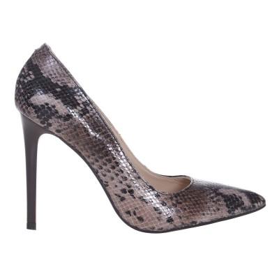 Pantofi Stiletto Piele Naturala Imprimeu Sarpe Maro- Cod S509