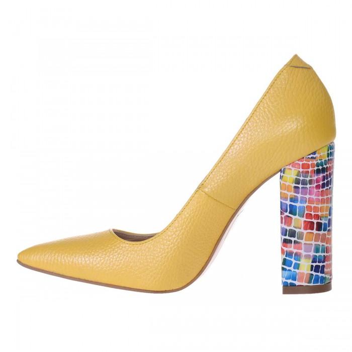Pantofi Stiletto Cu Toc Gros Piele Naturala Galbena si Imprimeu- Cod S560