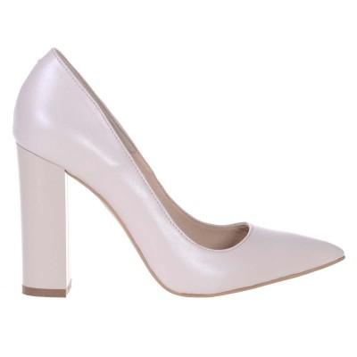Pantofi Stiletto Cu Toc Gros Piele Naturala Ivory- Cod S399