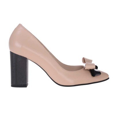 Pantofi Stiletto cu Toc Gros din Piele Naturala Nude Inchis - Cod S527