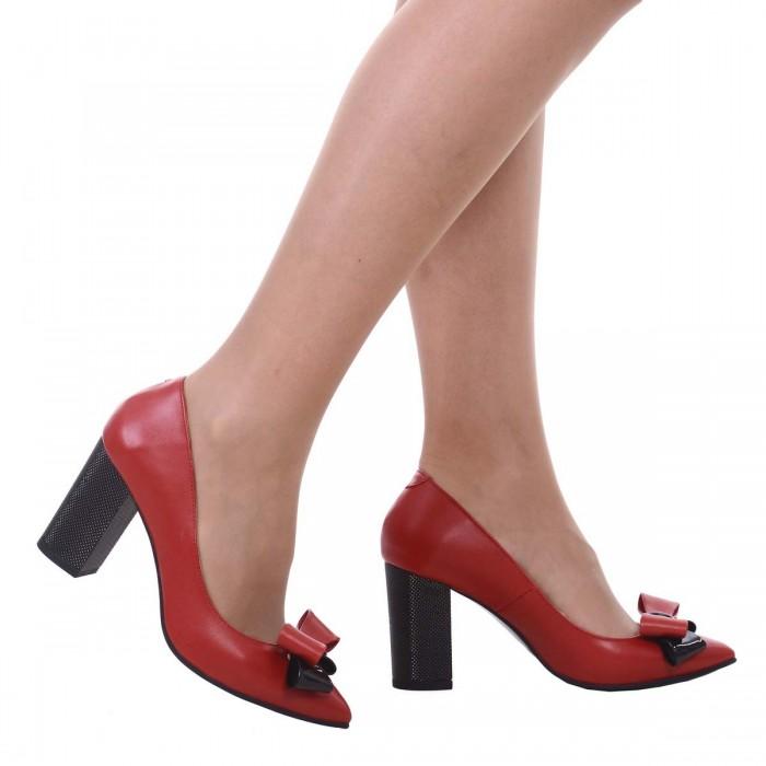 Pantofi Stiletto cu Toc Gros din Piele Naturala Rosie - Cod S528