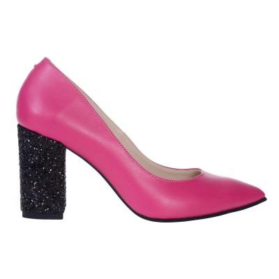 Pantofi Stiletto Toc Gros din Piele Naturala Roz Fuchsia - S549