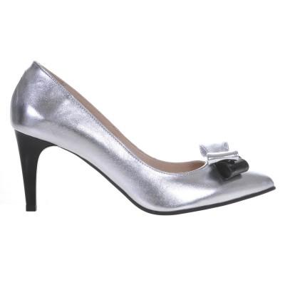 Pantofi Stiletto Piele Naturala Argintie - Cod S440