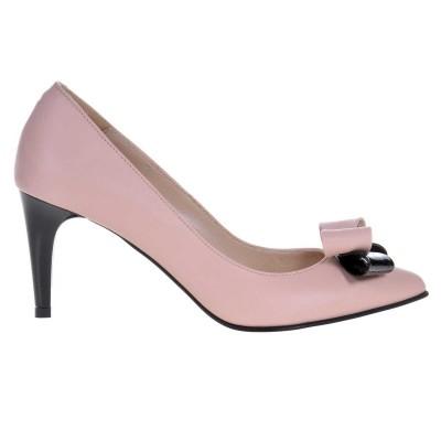 Pantofi Stiletto Piele Naturala Nude - Cod S441