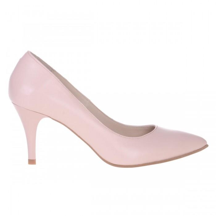 Pantofi Stiletto Piele Naturala Nude Somon - Cod S540