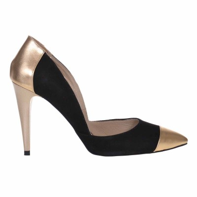 Pantofi Stiletto din Piele Naturala Negru - Auriu - Cod S593