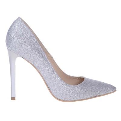 Pantofi Stiletto din Piele Naturala Glitter Argntiu - Cod S552
