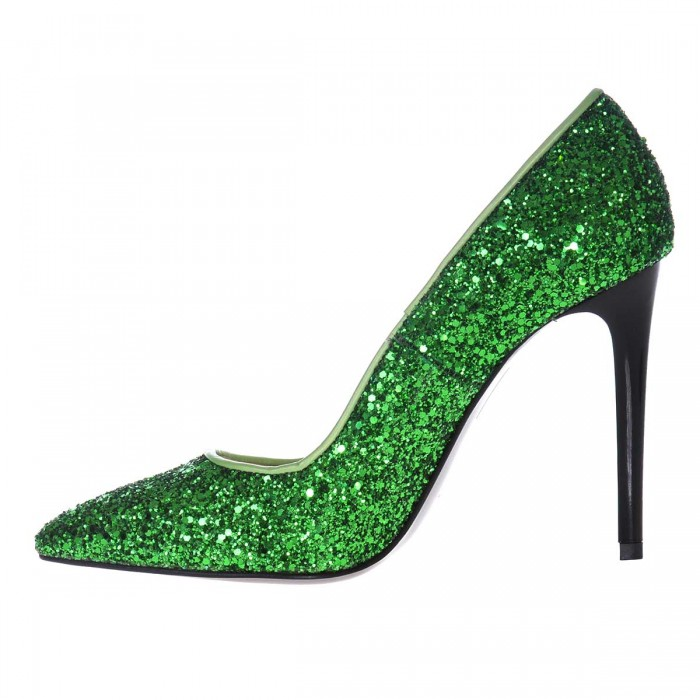 Pantofi Stiletto din Glitter Verde- Cod S433