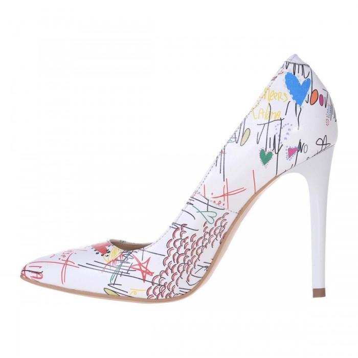 Pantofi Stiletto din Piele Naturala Alba cu Imprimeu - Cod S551