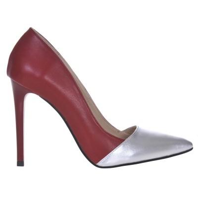 Pantofi Stiletto din Piele Naturala Bordo - Argintiu - Cod S495