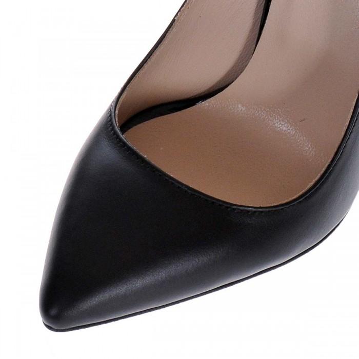 Pantofi Stiletto Negri din Piele Naturala- Cod S418