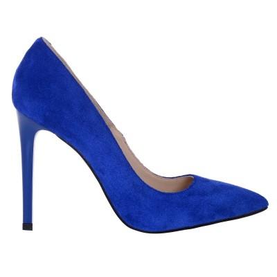 Pantofi Stiletto Piele Naturala Intoarsa Albastra - Cod S164
