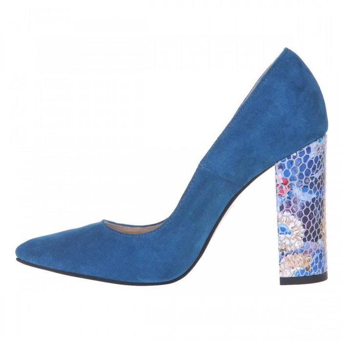 Pantofi Stiletto din Piele Naturala Intoarsa Turquoise - Cod S496