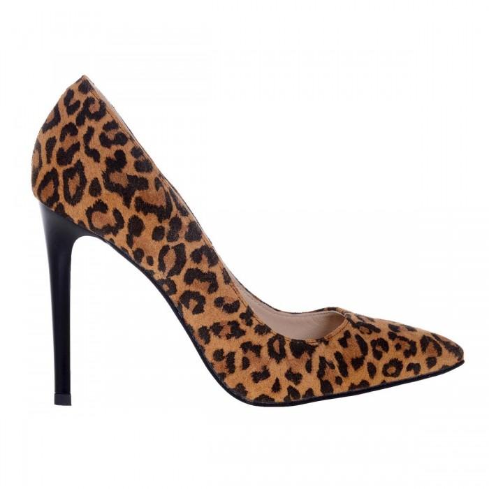Pantofi Stiletto Animal Print din Piele Naturala - Cod S550