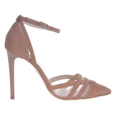Pantofi Stiletto din Piele Naturala Intoarsa Crem - Cod S444