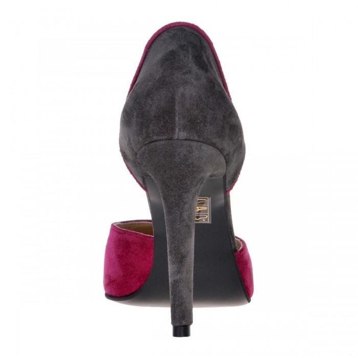 Pantofi Stiletto Decupati Piele Naturala Intoarsa Gri si Mov - Cod S494
