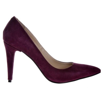 Pantofi Stiletto Mov din Piele Naturala Intoarsa - Cod S499