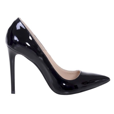 Pantofi Stiletto Negri din Piele Naturala Lacuita - Cod S535