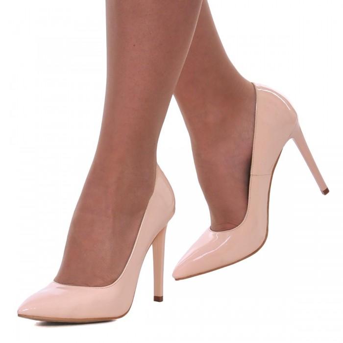Pantofi Stiletto din Piele Naturala Lacuita Nude-Roze - Cod S490