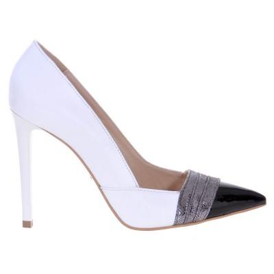 Pantofi Albi Stiletto din Piele Naturala - Cod S460