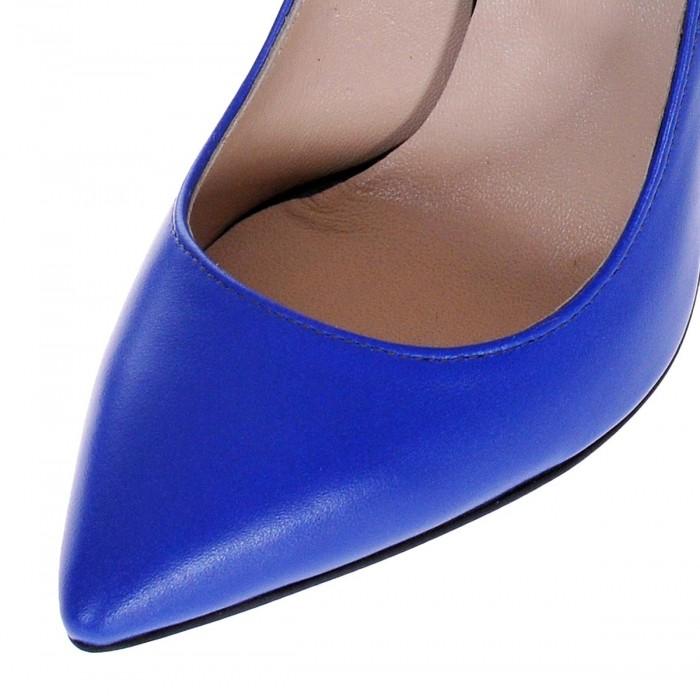 Pantofi Stiletto Piele Naturala Albastru Electric - Cod S171