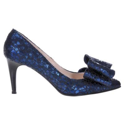 Pantofi Stiletto Piele Naturala Albastra - Cod S424